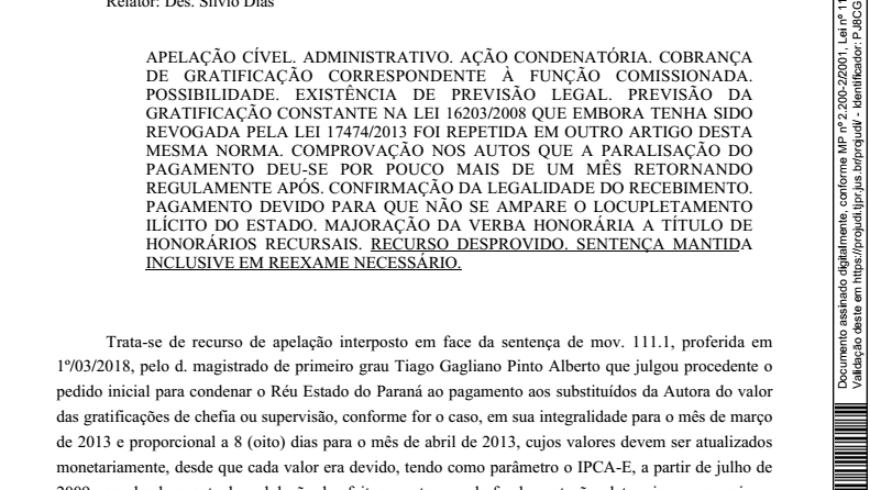 ANJUD obtém manutenção da condenação do TJPR ao pagamento de chefia e supervisão