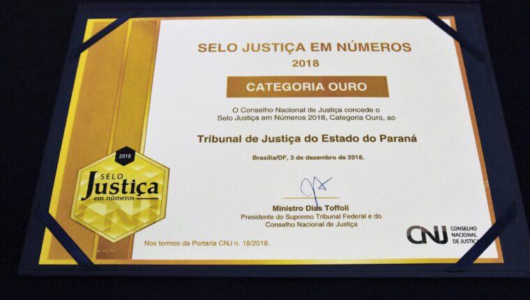 TJPR recebe Selo Ouro Justiça em Números 2018