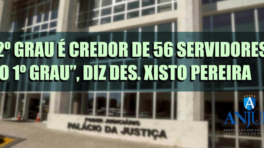"""""""2º grau é credor de 56 servidores do 1º grau"""", diz Des. Xisto Pereira"""