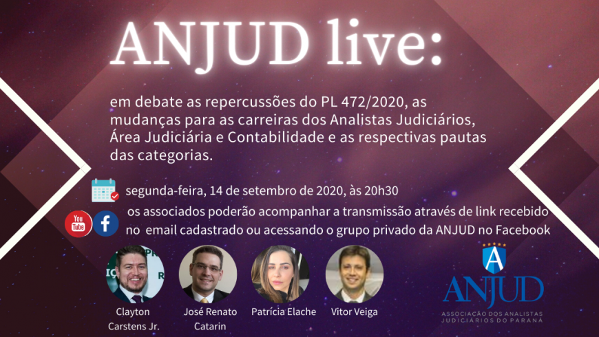 Agenda de lives: participe dos debates sobre as repercussões do PL 472/2020