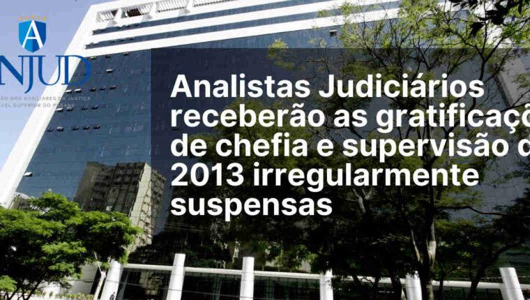 ANALISTAS RECEBERÃO AS GRATIFICAÇÕES DE CHEFIA E SUPERVISÃO DE 2013 IRREGULARMENTE SUSPENSAS
